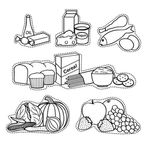 Dibujos De Alimentos Para Colorear Saludables Nutritivos Y