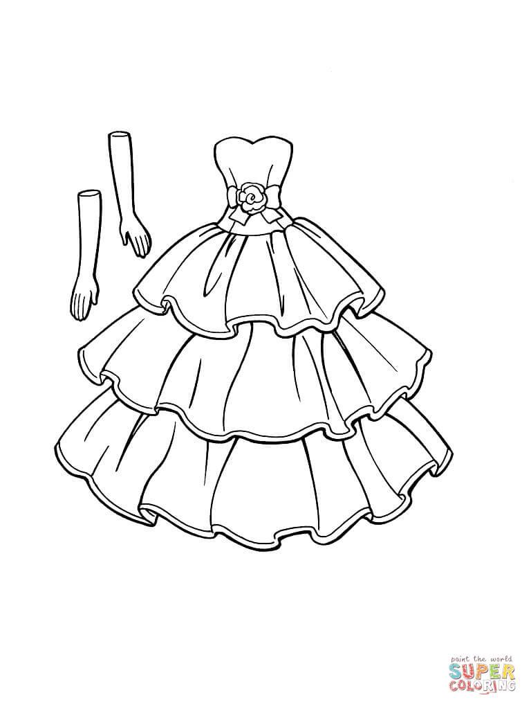 Dibujos de vestidos para colorear e imprimir   Colorear imágenes