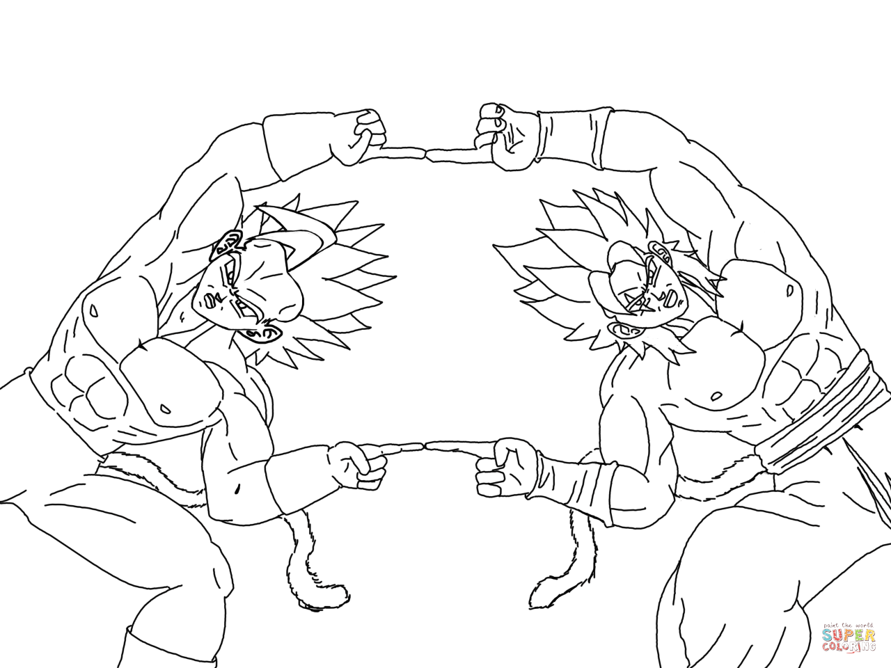 dibujos de dragon ball z  goku y vegeta para colorear