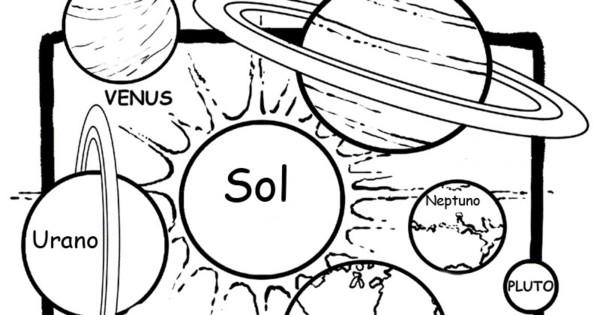 dibujos del sistema solar y sus planetas para colorear colorear