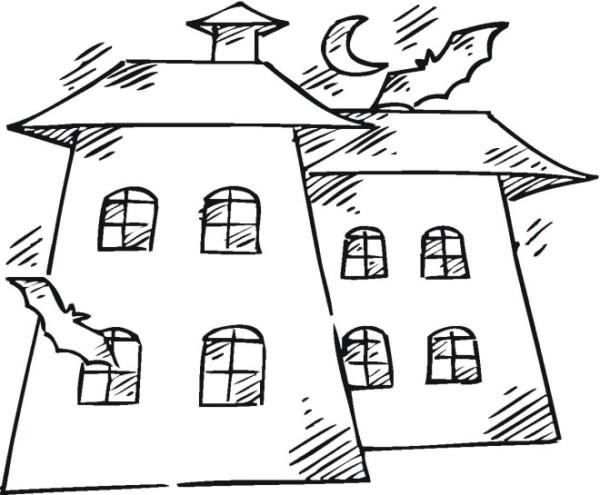 Dibujo De Fantasma Tenebroso Para Colorear: Dibujos De Casa Encantada Para Colorear En Halloween